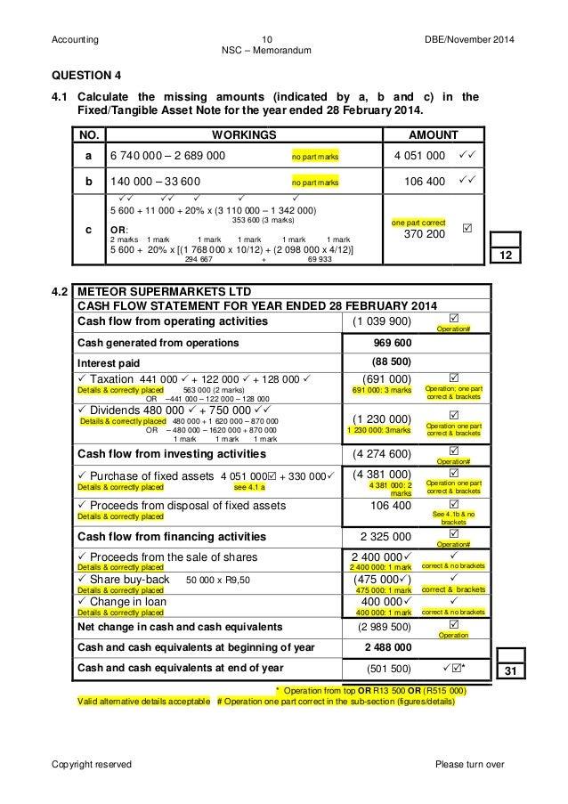 Accounting Grade 12 (past paper 2014) Memorandum