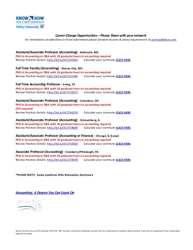 Career Change Opportunities – Please Share with your networkFor immediate consideration or more information please forward...