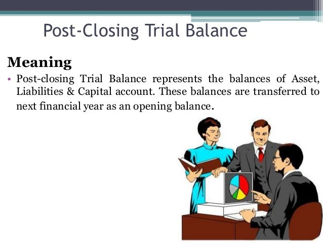 Post-Closing Trial Balance Meaning • Post-closing Trial Balance represents the balances of Asset, Liabilities & Capital ac...