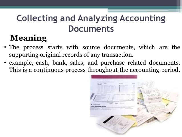 Collecting and Analyzing Accounting Documents Meaning • The process starts with source documents, which are the supporting...
