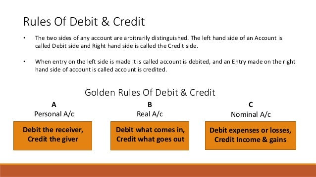 Rules Of Debit & Credit • The two sides of any account are arbitrarily distinguished. The left hand side of an Account is ...