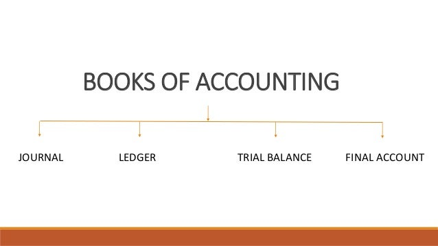 BOOKS OF ACCOUNTING JOURNAL LEDGER TRIAL BALANCE FINAL ACCOUNT