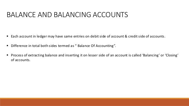  Each account in ledger may have same entries on debit side of account & credit side of accounts.  Difference in total b...
