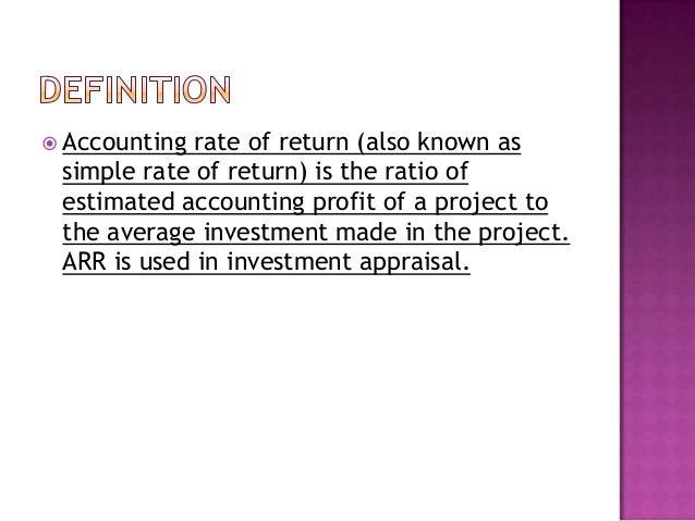 Rate of return.