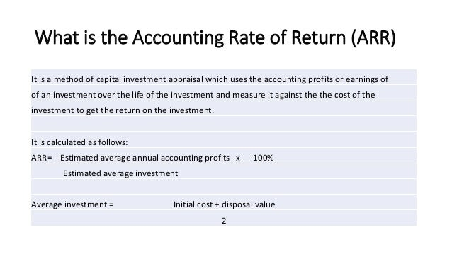 rate of return on average investment method of valuation