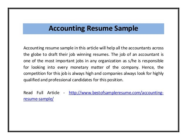 Accounting resume sample pdf