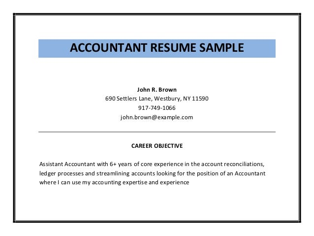 Accounting Assistant Sample Resume