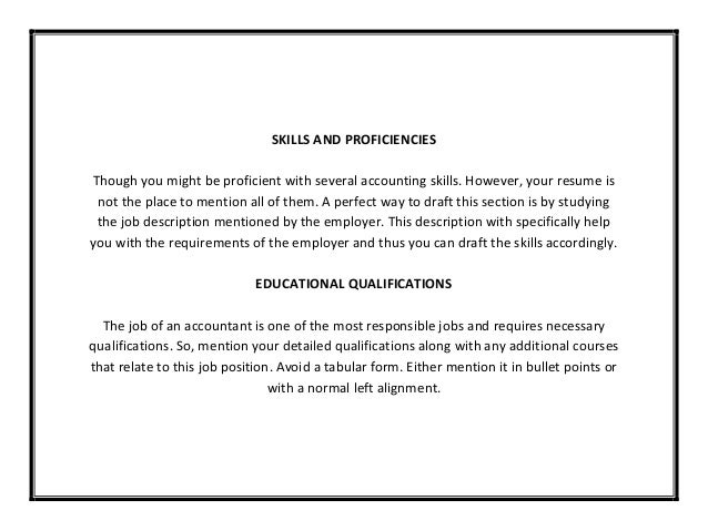 SKILLS ...  Accounting Skills Resume