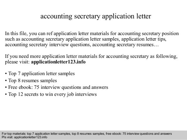 accounting secretary application letter in this file you can ref application letter materials for accounting application letter sample