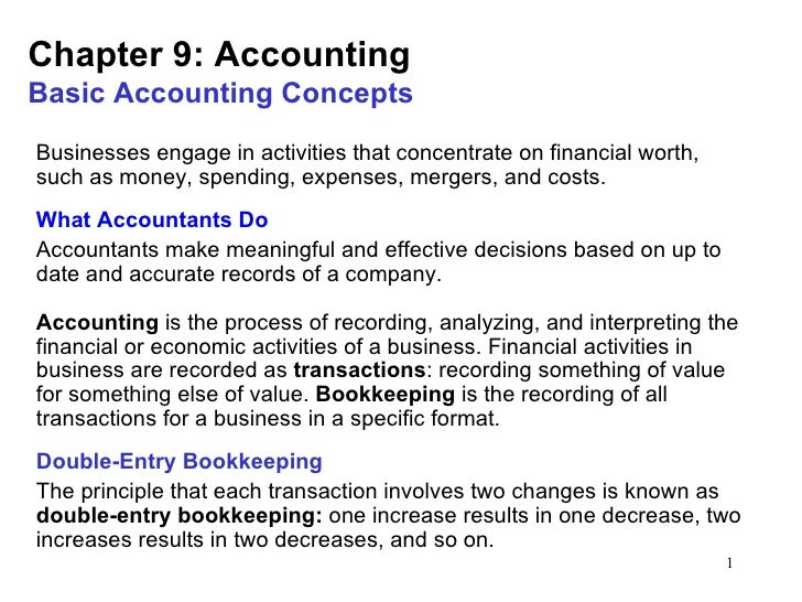 Chapter 9: AccountingBasic Accounting ConceptsBusinesses engage in activities that concentrate on financial worth,such as ...