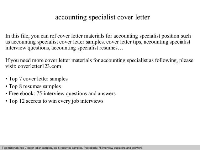 Accounting Specialist Cover Letter In This File, You Can Ref Cover Letter  Materials For Accounting Cover Letter Sample ...  Accounting Cover Letter Samples Free