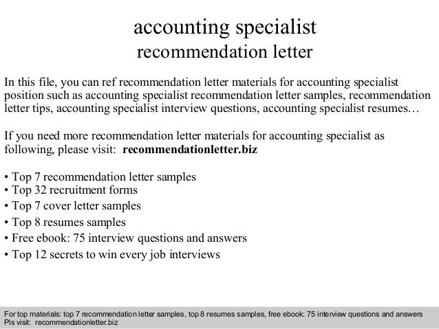 accounting specialist recommendation letter