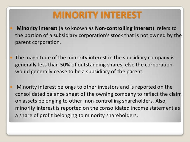 Accounting for minority interest in consolidating debt
