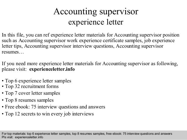 Accounting Supervisor Experience Letter In This File, You Can Ref  Experience Letter Materials For Accounting Experience Letter Sample ...