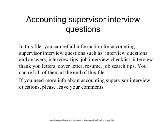 Accounting Supervisor Interview Questions