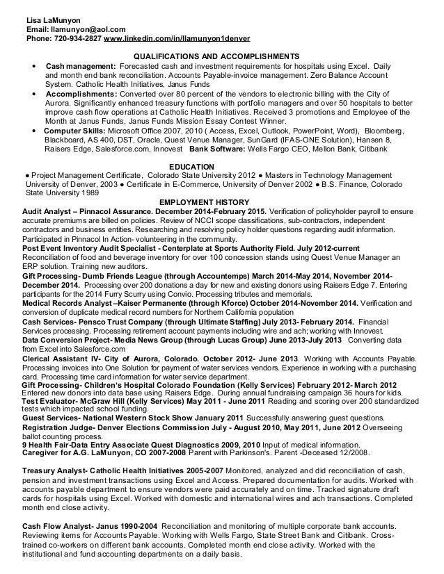 High Quality Accounting Technician Resume 2015. Lisa LaMunyon Email: Llamunyon@aol.com  Phone: 720 934 2827 ... With Accounting Technician Resume