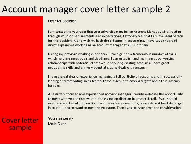 Cover Letter Best Account Manager Cover Letter Examples
