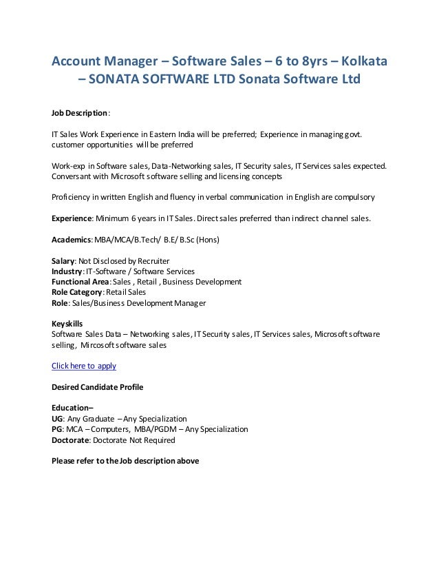 account manager software sales 6 to 8yrs kolkata sonata software ltd sonata kitchen manager job description - Software Sales Manager Job Description
