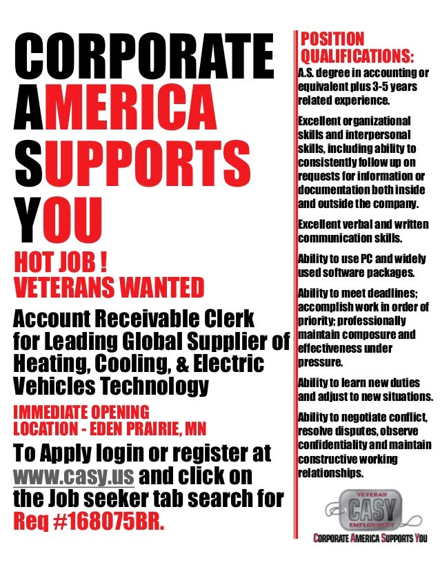 CORPORATE AMERICA SUPPORTS YOU HOT JOB ! VETERANS WANTED Account Receivable Clerk for Leading Global Supplier of Heating, ...