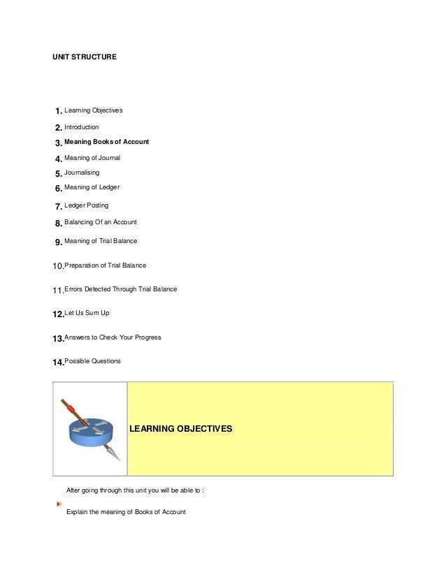 UNIT STRUCTURE1. Learning Objectives2. Introduction3. Meaning Books of Account4. Meaning of Journal5. Journalising6. Meani...