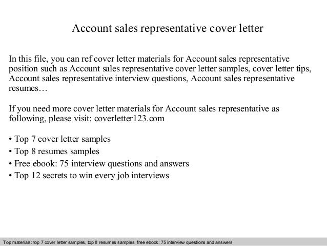Awesome Account Sales Representative Cover Letter In This File, You Can Ref Cover  Letter Materials For ...