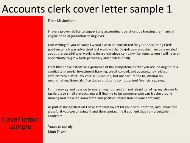 Accounts clerk cover letter