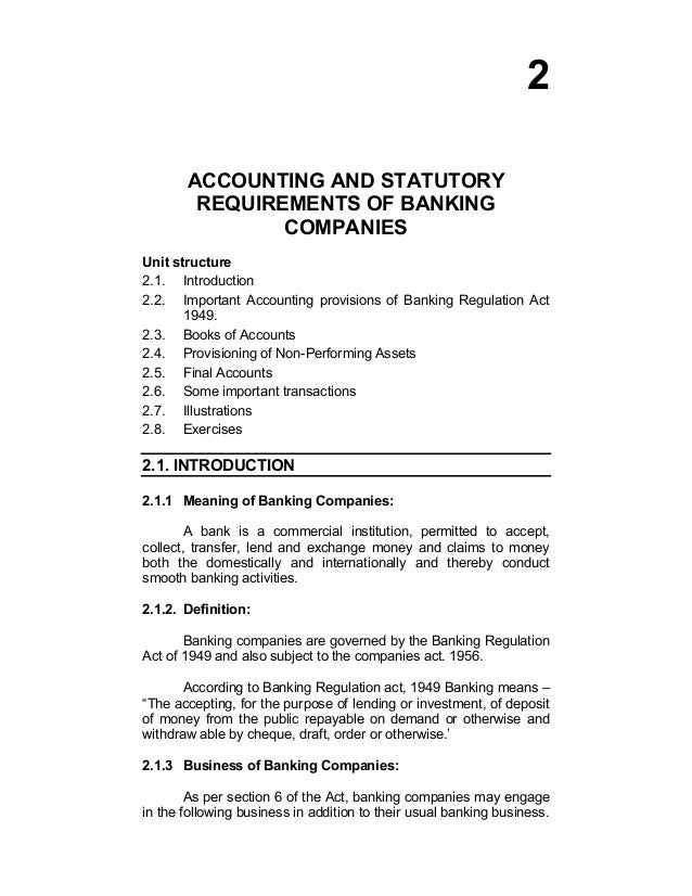 accounts of banking companies