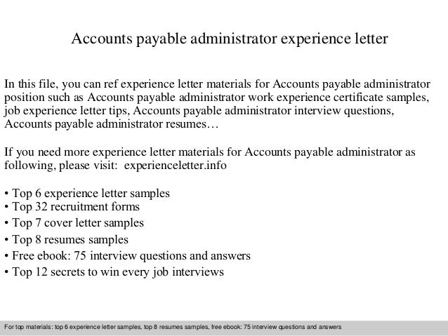 accounts payable administrator experience letter in this file you can ref experience letter materials for