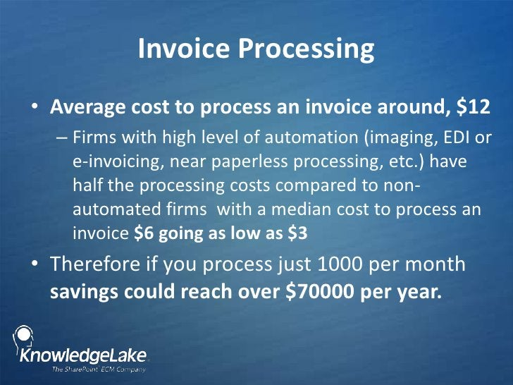 Invoice Processing<br />Average cost to process an invoice around, $12 <br />Firms with high level of automation (imaging,...