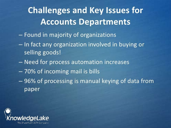 Challenges and Key Issues for Accounts Departments <br />Found in majority of organizations<br />In fact any organization ...