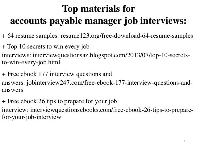 2 3 Top Materials For Accounts Payable Manager Job Interviews 64 Resume Samples