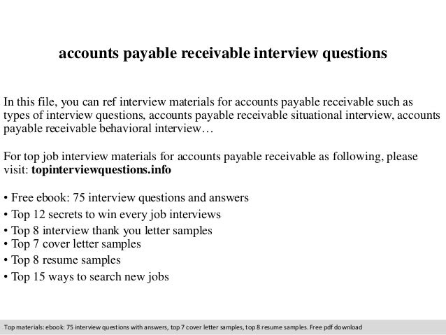 Accounts payable receivable interview questions