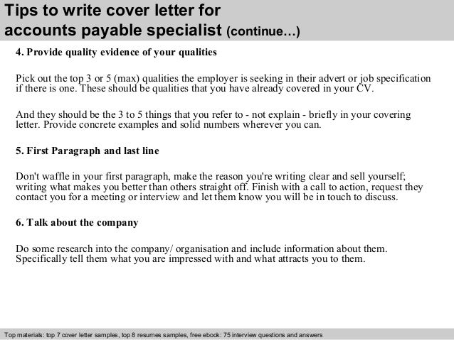 4 tips to write cover letter for accounts payable specialist - Accounts Payable Specialist Cover Letter