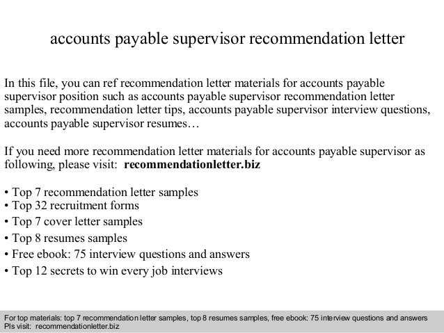 Interview Questions And Answers U2013 Free Download/ Pdf And Ppt File Accounts  Payable Supervisor Recommendation ...  Accounts Payable Supervisor Resume