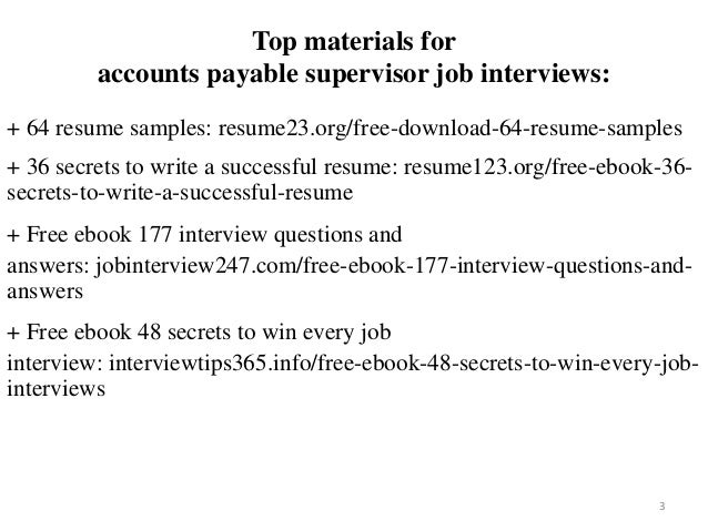Accounts Payable Supervisor Resume Sample Pdf Ebook Free Download