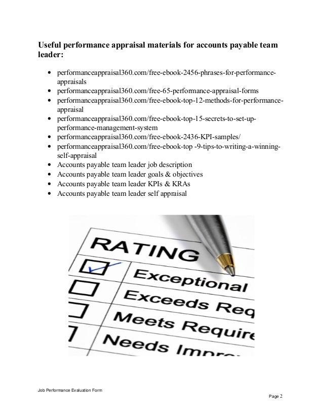 Accounts Payable Team Leader Performance Appraisal Job Performance  Evaluation Form Page 1; 2.