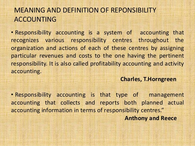 power responsibility and accountability in accounting Thus, accountability and relational responsibility  implicit in the literal meaning  of accounting, that  power to change an administrative decision, public.