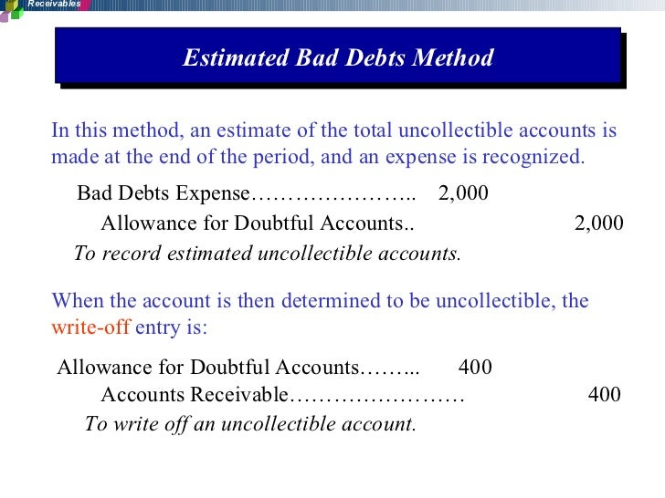 write off accounts receivable Direct write-off and allowance methods because customers do not always keep their promises to pay, companies must provide for these uncollectible accounts in their.