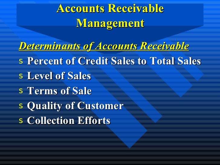 accounts receivable and inventory management Accounts receivable and inventory financing (arif) is the most fundamental form of collateral-based commercial lending it combines elements of secured lending and short-term business loans.