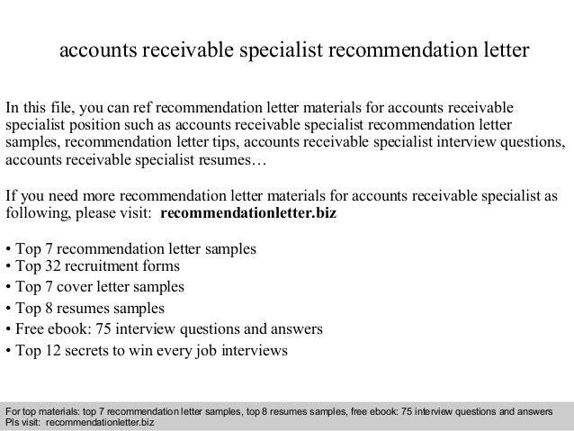 Accounts Receivable Specialist Recommendation Letter