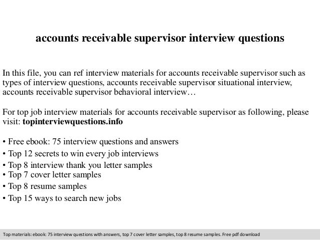 Accounts receivable supervisor interview questions