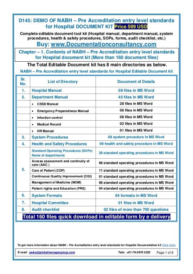 pre entry level for hospital nabh documentation kit rh slideshare net