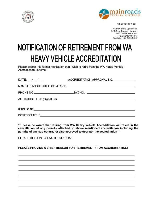 Accreditation Retirement form