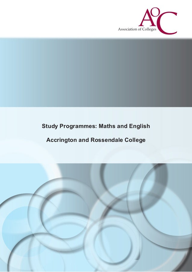 Study Programmes: Maths and English Accrington and Rossendale College