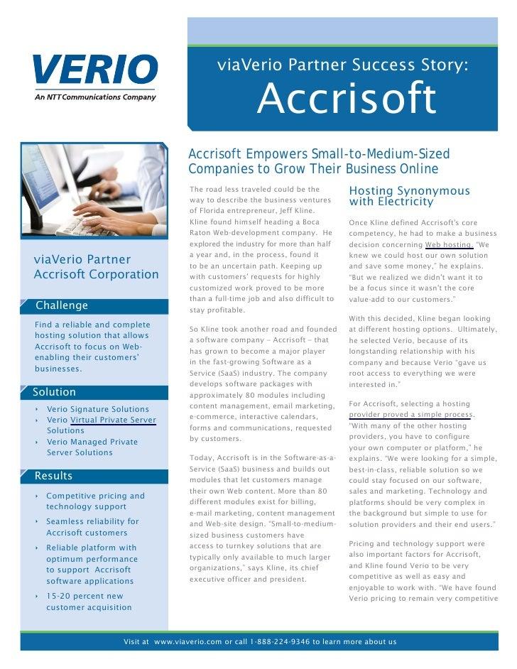 viaVerio Partner Success Story:                                                          Accrisoft                        ...
