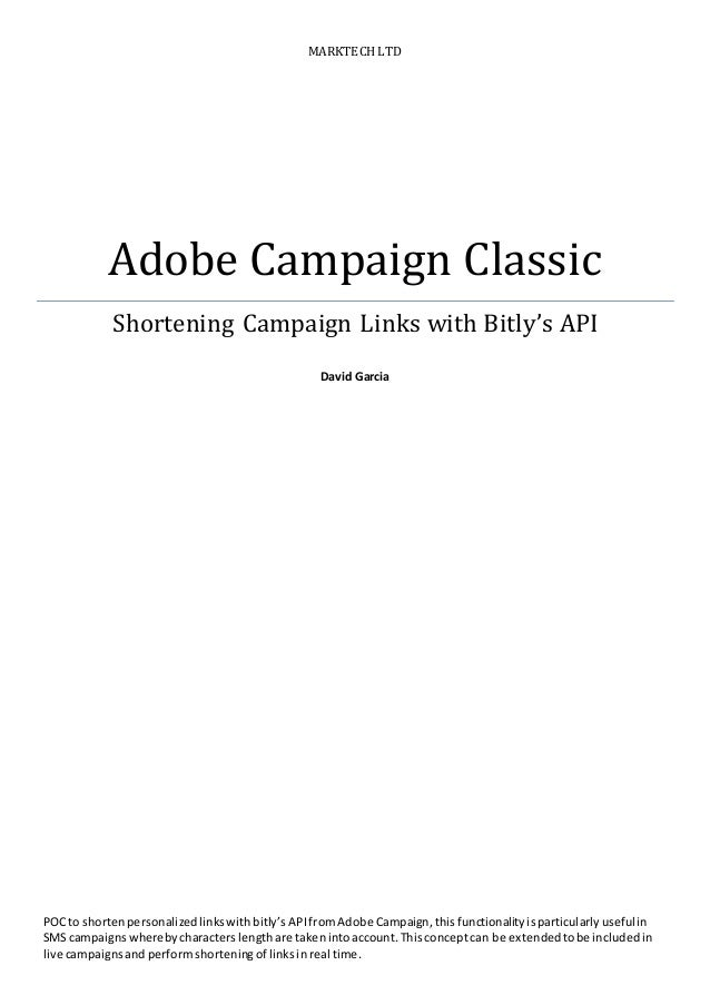 Adobe Campaign Classic Shortening Links with Bitly API