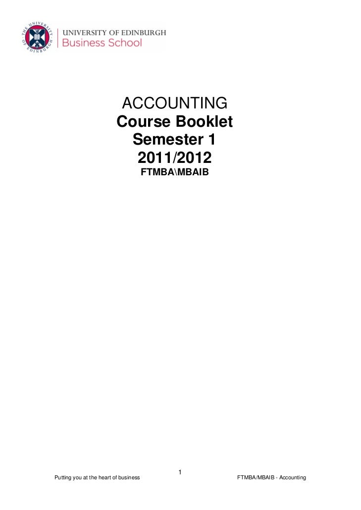 ACCOUNTING                          Course Booklet                           Semester 1                            2011/20...