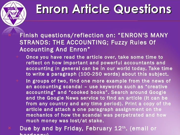 enron questions Governance failure at enron: case questions 2describe how you think each of the individual stakeholders and components of the corporate governance system should.