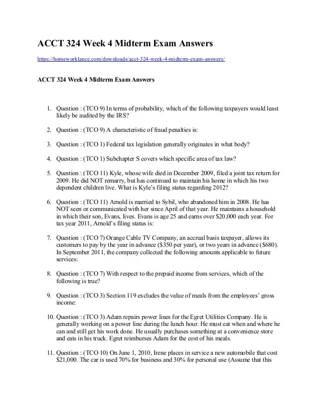 Acct 324 Week 4 Midterm Exam Answers