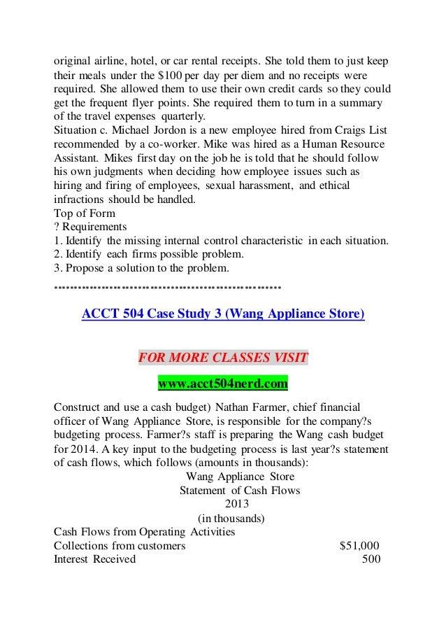 acct 504 week 3 case study